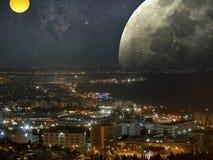Paisaje urbano en espacio Imagen de archivo libre de regalías