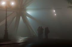 Paisaje urbano en la niebla Imágenes de archivo libres de regalías