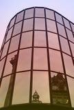 Paisaje urbano en la puesta del sol Foto de archivo