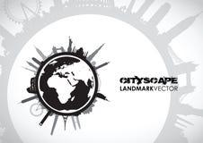 Paisaje urbano famoso de las señales libre illustration