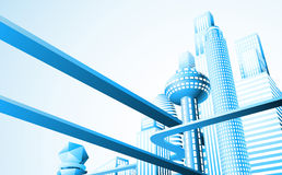 Paisaje urbano futurista Imagenes de archivo