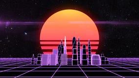 Paisaje urbano futurista retro de la rejilla del synth metrajes