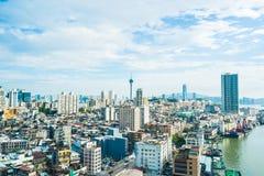 Paisaje urbano hermoso del edificio de la arquitectura de la ciudad de Macao fotos de archivo libres de regalías