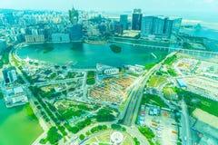 Paisaje urbano hermoso del edificio de la arquitectura en Macao imagen de archivo libre de regalías