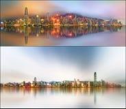 Paisaje urbano hermoso fijado y collage del distrito financiero, Hong Kong Fotos de archivo