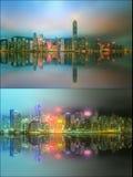 Paisaje urbano hermoso fijado y collage del distrito financiero, Hong Kong Foto de archivo