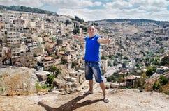 Paisaje urbano. Hombre. Ciudad Jerusalén. Israel. Oriente Próximo Fotografía de archivo