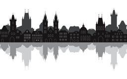 Paisaje urbano inconsútil de la ciudad vieja de Praga con la reflexión en el agua ilustración del vector