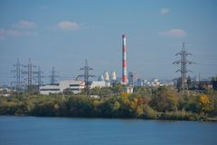 Paisaje urbano industrial de Dnepropetrovsk fotos de archivo libres de regalías