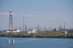 Paisaje urbano industrial de Dnepropetrovsk imágenes de archivo libres de regalías