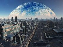 Paisaje urbano industrial extranjero futurista Foto de archivo libre de regalías