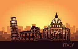 Paisaje urbano italiano abstracto con las siluetas de vistas en la puesta del sol stock de ilustración