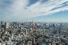Paisaje urbano Japón de la torre de Tokio de la visión aérea Imágenes de archivo libres de regalías