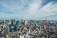 Paisaje urbano Japón de la torre de Tokio de la visión aérea Imagen de archivo