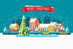 Paisaje urbano La ciudad en la Navidad Ejemplo plano del vector Fotografía de archivo libre de regalías