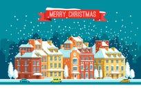 Paisaje urbano La ciudad en la Navidad Ejemplo plano del vector Imagen de archivo libre de regalías