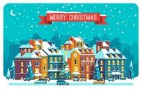 Paisaje urbano La ciudad en la Navidad Paisaje urbano Ejemplo plano del vector Fotografía de archivo libre de regalías