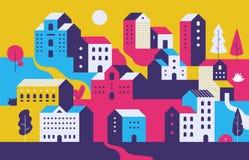Paisaje urbano mínimo Casas de ciudad planas con el ambiente de la naturaleza del eco, edificios geométricos modernos Fondo del p ilustración del vector