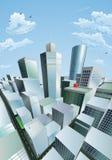 Paisaje urbano moderno del districto financiero del centro de ciudad ilustración del vector