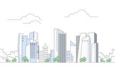 Paisaje urbano moderno del rascacielos de la opinión de la megalópoli de la ciudad Foto de archivo libre de regalías