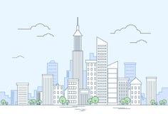 Paisaje urbano moderno del rascacielos de la opinión de la megalópoli de la ciudad Imagen de archivo
