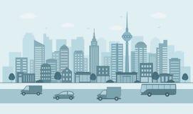 Paisaje urbano moderno Ejemplo de la vida de ciudad con las fachadas de la casa, el camino y otros detalles urbanos imagenes de archivo