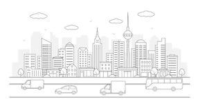 Paisaje urbano moderno Ejemplo de la vida de ciudad con las fachadas de la casa, el camino y otros detalles urbanos imagen de archivo