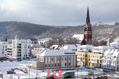 Paisaje urbano Nevado de Heidenheim un der Brenz en invierno imagen de archivo libre de regalías
