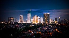 Paisaje urbano panorámico del capital Jakarta de Indonesia fotos de archivo libres de regalías
