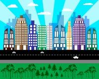 Paisaje urbano plano de casas altas Imágenes de archivo libres de regalías