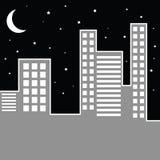 Paisaje urbano por noche Fotos de archivo