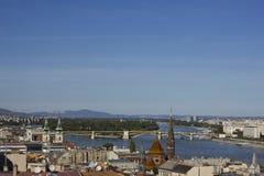 Paisaje urbano que mira la dirección al norte de Budapest Imagenes de archivo