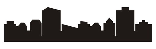 Paisaje urbano, silueta negra de la ciudad ilustración del vector