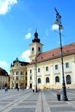 Paisaje urbano típico en Sibiu, capital europea de la cultura por el año 2007 Fotografía de archivo libre de regalías