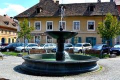 Paisaje urbano típico en Sibiu, capital europea de la cultura por el año 2007 Fotos de archivo libres de regalías