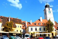 Paisaje urbano típico en Sibiu, capital europea de la cultura por el año 2007 Imagen de archivo libre de regalías