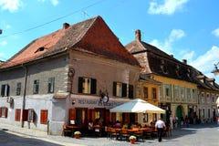 Paisaje urbano típico en Sibiu, capital europea de la cultura por el año 2007 Imagenes de archivo