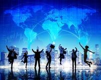 Paisaje urbano Team Concept del negocio global de la gente de la silueta Fotos de archivo