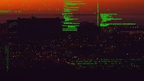 Paisaje urbano y códigos digitales almacen de video