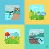 Paisaje urbano y del pueblo Ecología, ambiente ilustración del vector