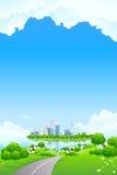 Paisaje verde con la isla del asunto stock de ilustración