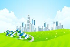 Paisaje verde con la línea de ciudad y el pueblo de la cabaña libre illustration
