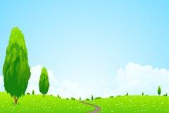 Paisaje verde con los árboles Foto de archivo libre de regalías