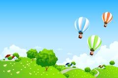 Paisaje verde con los globos ilustración del vector
