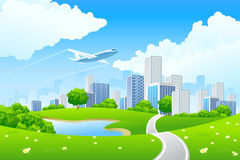 Paisaje verde de la ciudad ilustración del vector