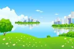 Paisaje verde de la ciudad stock de ilustración