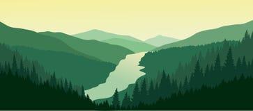 Paisaje verde de la montaña con el río en el valle stock de ilustración