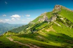Paisaje verde del pico de montaña Imagenes de archivo