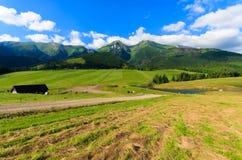 Paisaje verde hermoso del verano de las montañas de Tatra en el pueblo de Zdiar, Eslovaquia Fotos de archivo libres de regalías