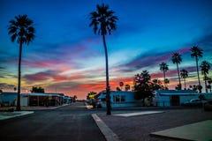 Paisaje vibrante dramático de la puesta del sol en el empalme de Apache, Arizona imagen de archivo